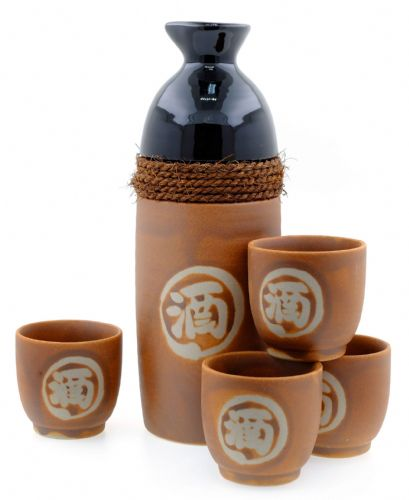 Sandstone and Rope Sake set - Japanese 4 cups
